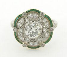 Art Deco 1.04 Euro Cut Center Diamond Emeralds Platinum Filigree Ring