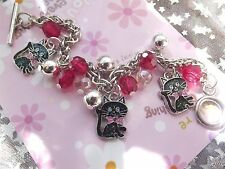 CHILDRENS  JEWELRY  BRACELET CAT KITTEN CHARMS  AGE 5,6,7,8, 9,10 Y [GIFT BOX ]