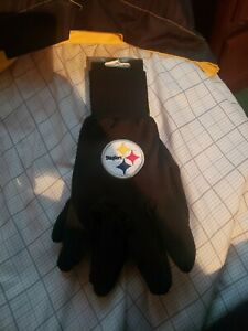 Pittsburgh Steelers Gloves Sports Logo Utility Work Gloves NEW Colored Palm NWT