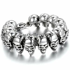 Stainless Steel Silver Biker Gothic Skull Link Bracelet Mens Cuff Bangle Jewelry