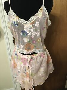 Victoria's Secret Nylon Pink Floral Mesh Camisole PJ Top And Panty Set, L