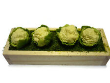 Strip of 4 Miniature Cauliflowers Dollhouse Miniatures Deco Wooden Garden