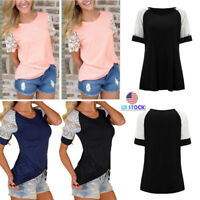Women Casual Lace Shoulder Round Neck Short Sleeve Loose Tops Blouse T Shirt Tee