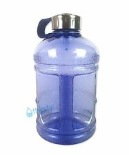 Blue BPA Free Half Gallon Water Bottle Drinking Gym Jug Canteen Steel Cap 64 oz