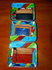 NEW J.FOLD PASSCASE WALLET LEATHER BLACK NAVY RED