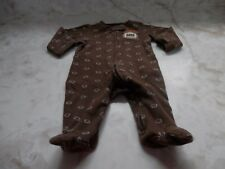 NB Baby Boy Carter's Brown Football DADDYS MVP Zip Up Footed Sleeper