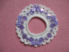 White Crochet Wreath Magnet with Purple Bows Ribbons Square Garland Handmade