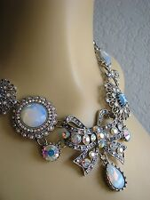 BETSEY JOHNSON~ICONIC BONJOUR BUTTERFLY CRYSTAL BOW STATEMENT NECKLACE~RARE!