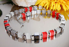 Design Würfel Collier Würfelkette in Rot Grau Weiss Silber + Hämatit