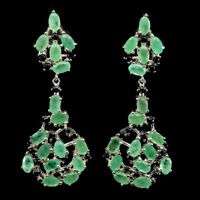 Unheated Oval Green Emerald 5x3mm Black Spinel 925 Sterling Silver Earrings