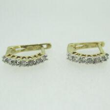 10k Yellow Gold Round Brilliant Cut Diamond Small Circle Hoop Earrings