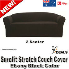 SUREFIT Couch Cover 2 Seater Sofa Stretch Slip Cover 147 to 185cm Ebony