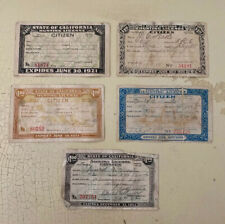 Antique Vintage Lot Of 5 Hunting Angling Fishing Licenses California Early 1920s