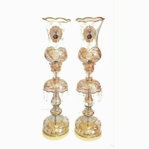 PAIR of Traditional Antique style laleh lamps, persian,65cm height gold,discount
