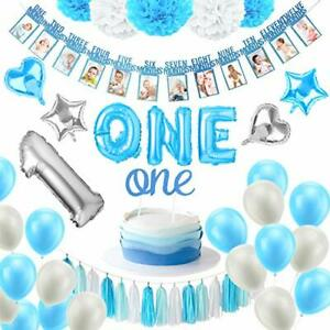 Baby Boy 1St Birthday Party Supplies Set Boy First Blue Decorations High Chair