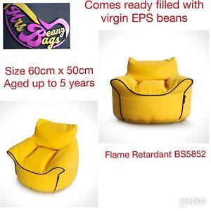 Mrs BeanzBags® Kids Comfy Arm Chair Bean Bag Yellow 60 x 50cm Flame Retardant
