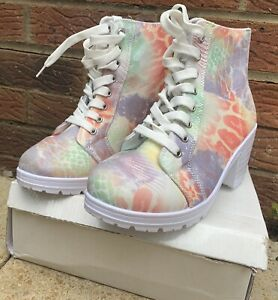 Colourful Animal Print Canvas Lace Up Heeled Boots Size 8