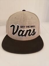 VANS OFF THE WALL Snapback Hat Gray With  Black Bill Skater Cap Adjustable