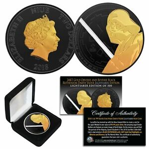 2018 NUIE 1 oz Silver DARTH VADER Star Wars Coin BLACK RUTHENIUM & 24K GOLD * LS