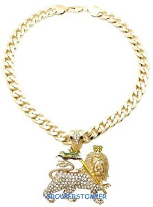 Lion Of Judah Necklace New Pendant With 25 Inch Long Cuban Chain