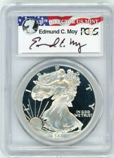 2001-W $1 Proof Silver Eagle PCGS PR70 Ed Moy Signed Red White and Blue Label