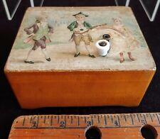 Hand crank Antique Music Box W Original Graphic