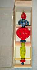 Pier 1 Imports Finial Party Ornament Glass Mouth-blown Hand-painted Christmas