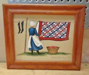 1994 American Folk Art Amish Bow Tie Quilt Painting Signed  B Jolley Kentucky #1