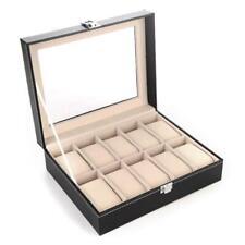 Luxury 10 Slots PU Leather Watch Display Storage Box Case Large Holder Organizer