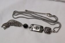 New Brighton Vanity Silver & Black Crystal Tassel Long Chain Altered Necklace