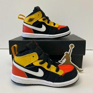 Nike Air Jordan 1 Mid TD Black Amarillo Team Orange (BQ6933-087) Toddler Size 7C