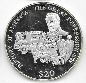 2000 Proof Liberia $20 .999 Silver History of America The Great Depression 1929