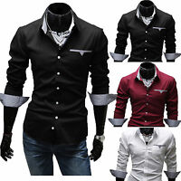 Men Long Sleeve Button Up Business Formal Dress Shirt Casual Slim Blouse Tops