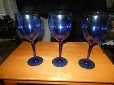 3 Cobalt Blue Luminarc Wine Glasses