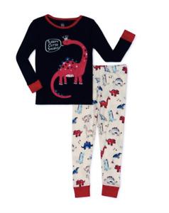 Dino Sleepy Cutie Saurus Girl Pajamas NWT 12 18 mo 2 4 5T 100% Cotton Snug Fit