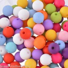 100 Mix Acryl Spacer Perlen Beads Mehrfarbig Kugeln 10mm