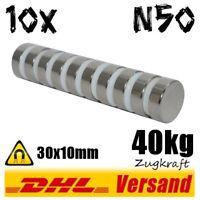 10x Neodym Magnete 30x10mm D30x10 mm 40kg N50 Dauermagnet Hochleistungsmagnet