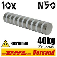 10x Neodym Magnete 30x10 mm D30x10mm 40kg Zugkraft starker power Industriemagnet