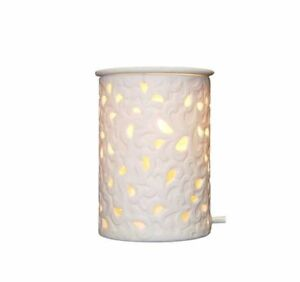 White Ceramic Flower leaf  Electric Oil Burner Lamp  FREE wax & globe