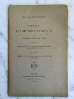 Auguste Chauvigné  Origine importance et durée  Barbot-Berruer 1885