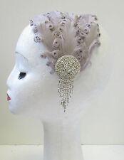 Blanc argent strass plumes coiffe headband 1920s garçonne charleston M92