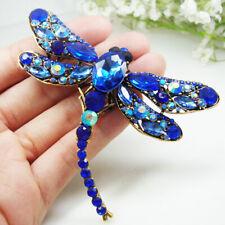 Classic Blue Dragonfly Bird Brooch Pin Crystal Rhinestone Animal Party Jewelry