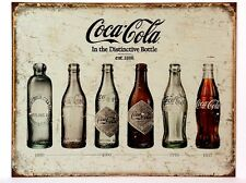 COKE BOTTLE EVOLUTION  1899-1957 - COLLECTIBLE TIN SIGN METAL WALL DECOR