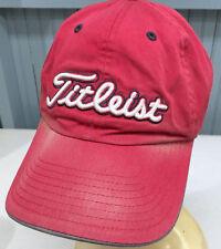 98173040ede Titleist Red Golf Distressed Strapback Baseball Hat Cap