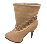 Womens Ladies Dark Taupe Faux Leather High Heel Shoes Ankle Boots Size UK 5 New