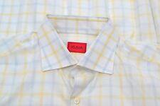 Isaia Napoli White Blue Yellow Plaid Cotton Spread Collar Dress Shirt Sz 17.5