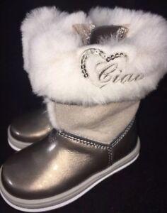 Ciao Bimbi Girls Toddler Boots Gold Leather Fur Sheepskin 5.5 made Italy eu 21