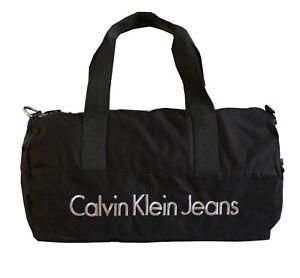 CALVIN KLEIN CANVAS DUFFLE BARREL BAG/ GYM BAG/ SPORT BAG 2.0 CYLINDER BLACK