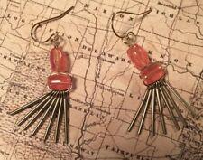 """Silpada Krw0053 Brass """"Sweet Pea""""  Pink Earrings New Was $49"""