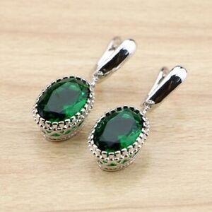 Womans Earrings Emerald Green Silver Tone Oval Drop Dangle,May Birthstone